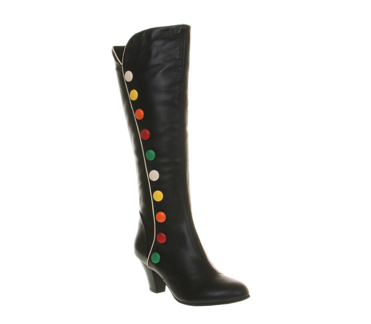 Womens Lola Ramona Elsie Long Boot BLACK MULTI BUTTON LEATHER ...