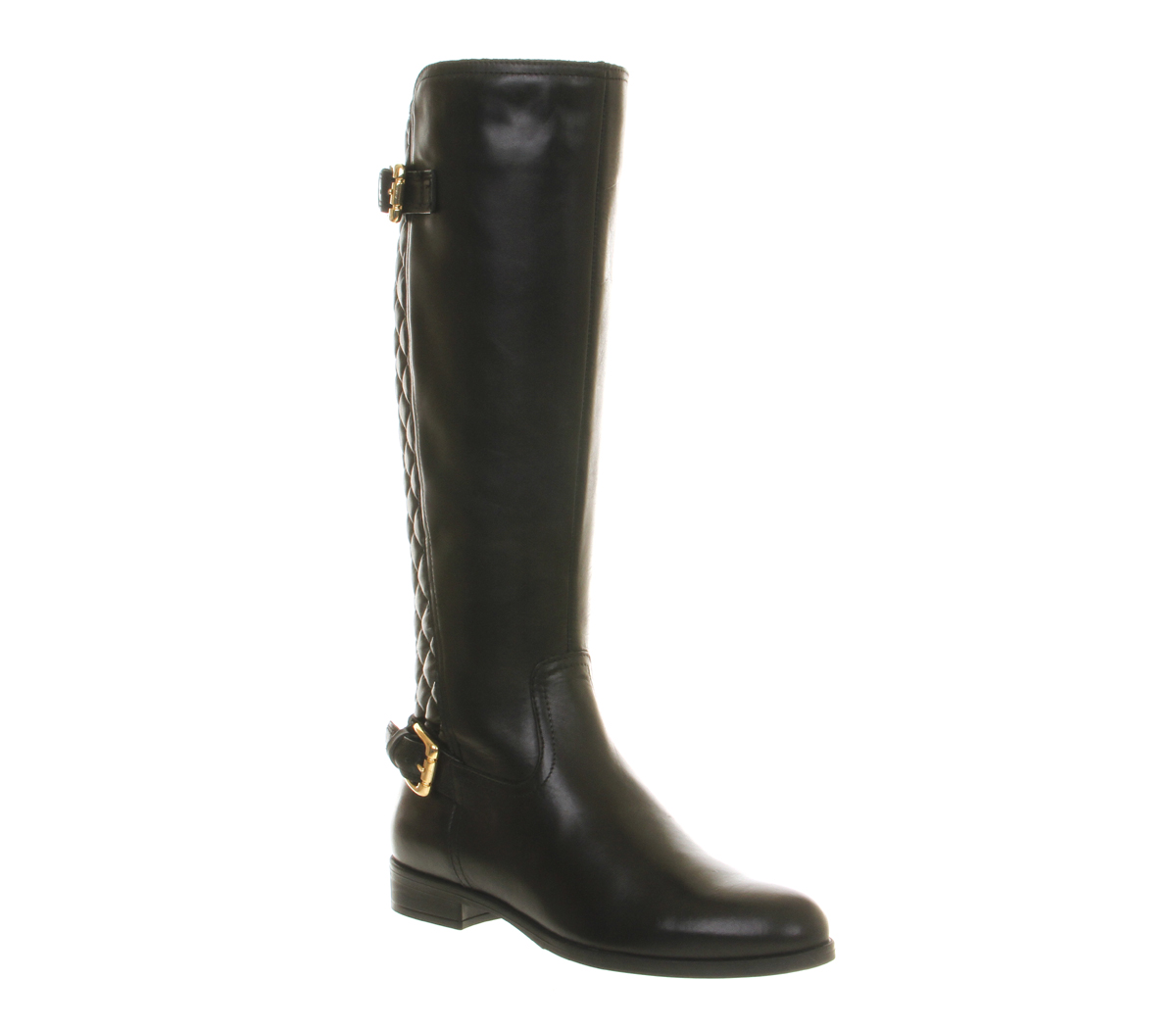 womens office knee boot black quilted leather boots