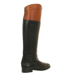 Womens Office All Out Riding Boot BLACK TAN LEATHER Boots | eBay