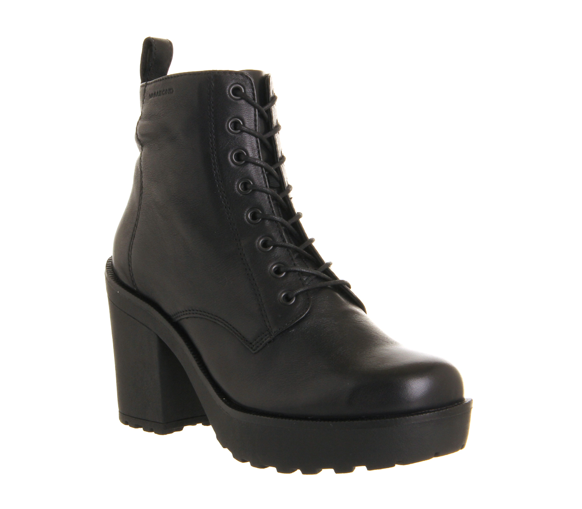 Womens Vagabond Libby Heeled Lace Up BLACK LEATHER Boots | eBay