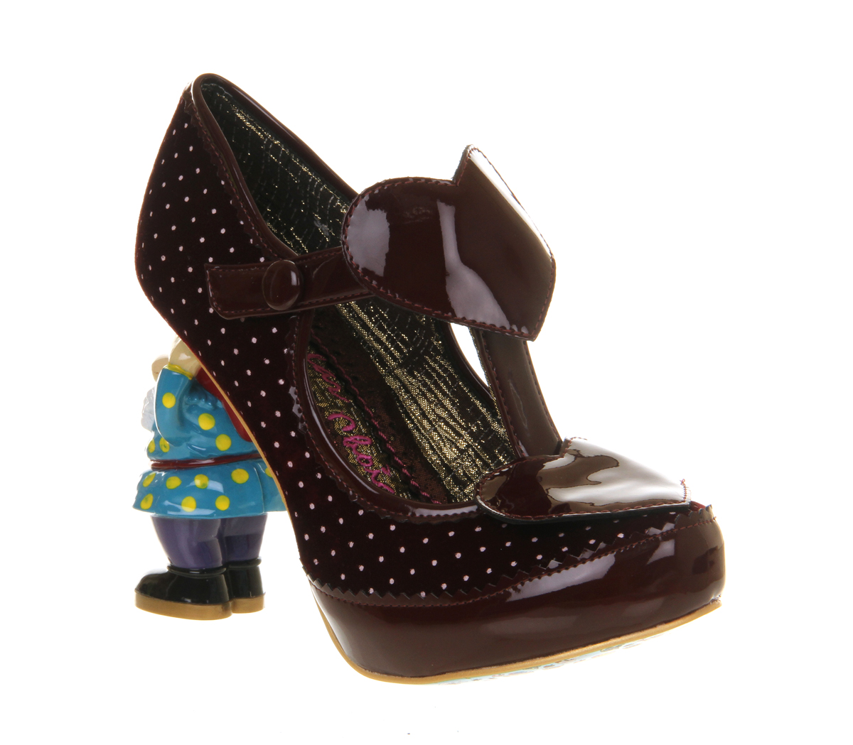Womens-Irregular-Choice-Chuckles-Gnome-Heel-BORDO-WHITE-Heels
