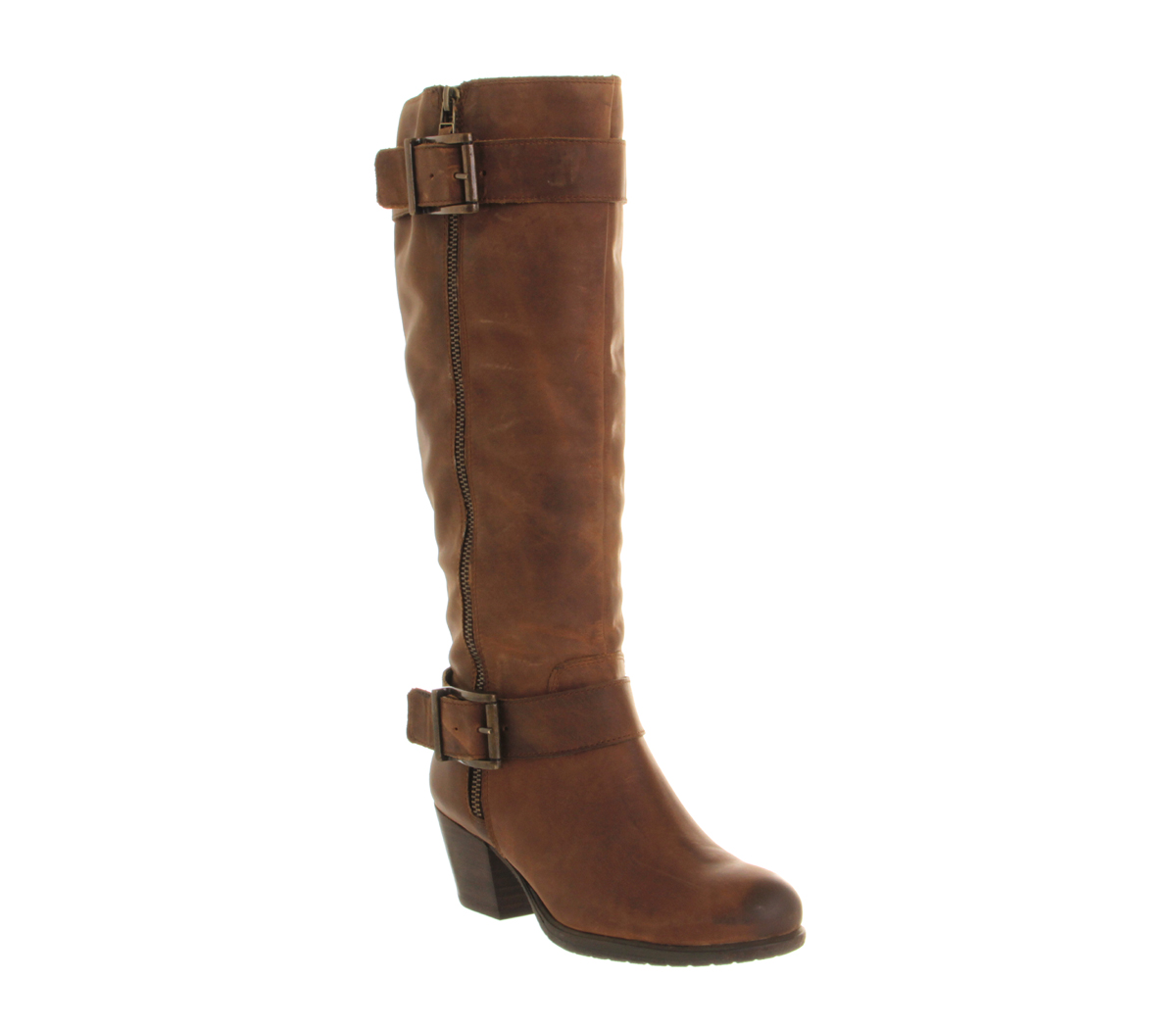 Womens Office Agenda Zip BROWN LEATHER Boots | eBay