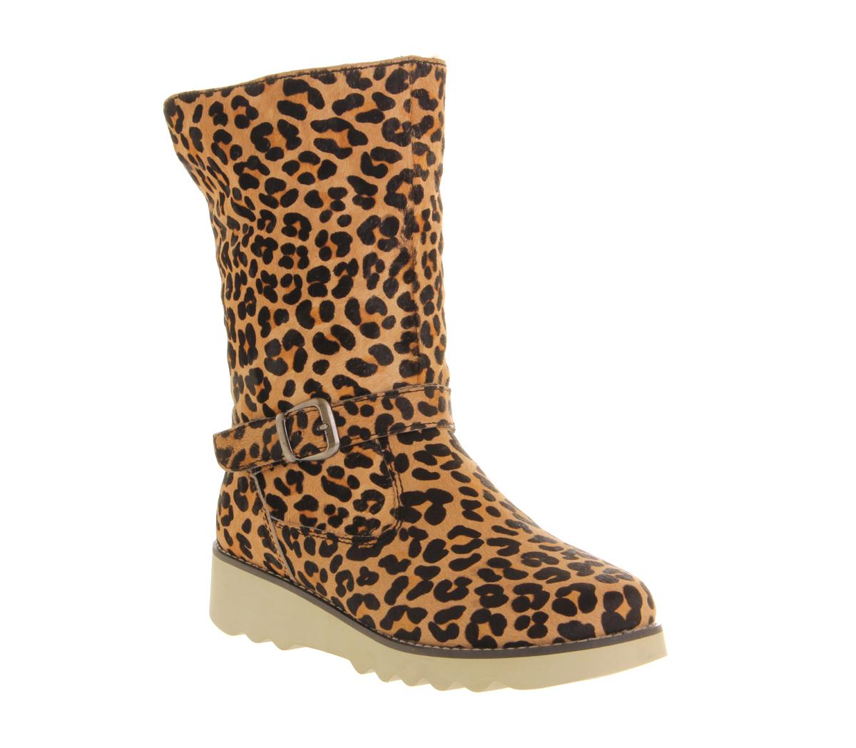 womens lola ramona wedge boot leopard pony hair