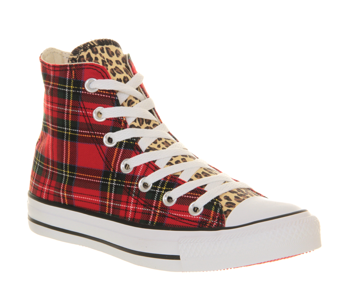Mens-Converse-Converse-All-Star-Hi-TARTAN-LEOPARD-STUDS-EXCLUSIVE-Trainers-Shoes