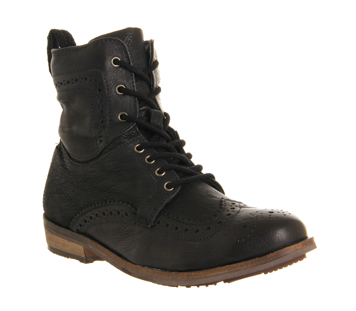 mens ask the missus keaton brogue boot black leather boots
