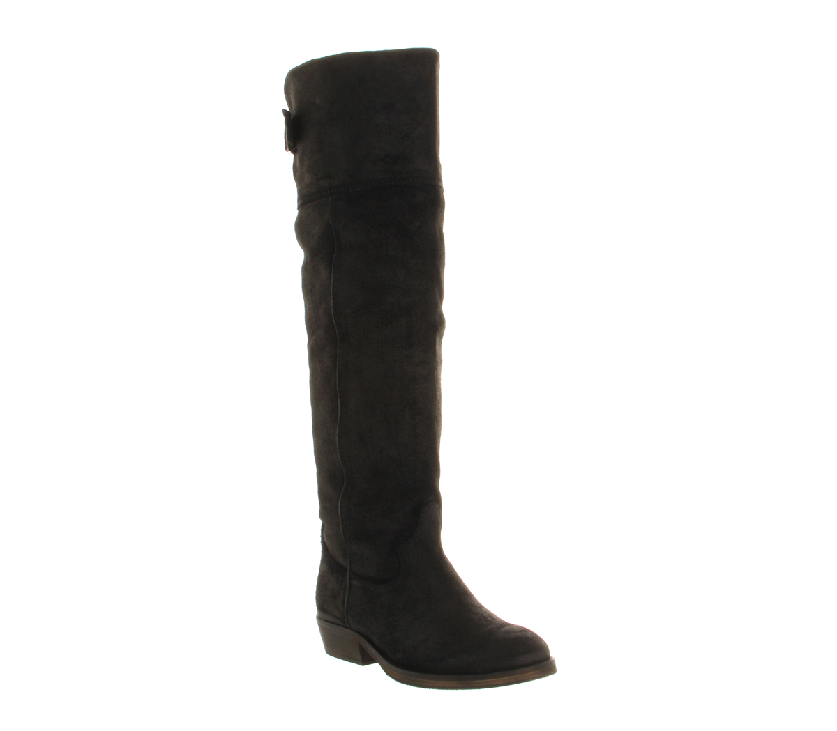 womens office knee boot black suede fur lined boots
