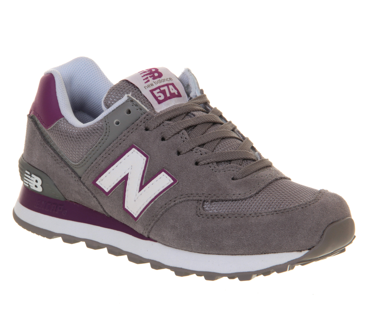 new balance wl574 grey purple trainers shoes ebay
