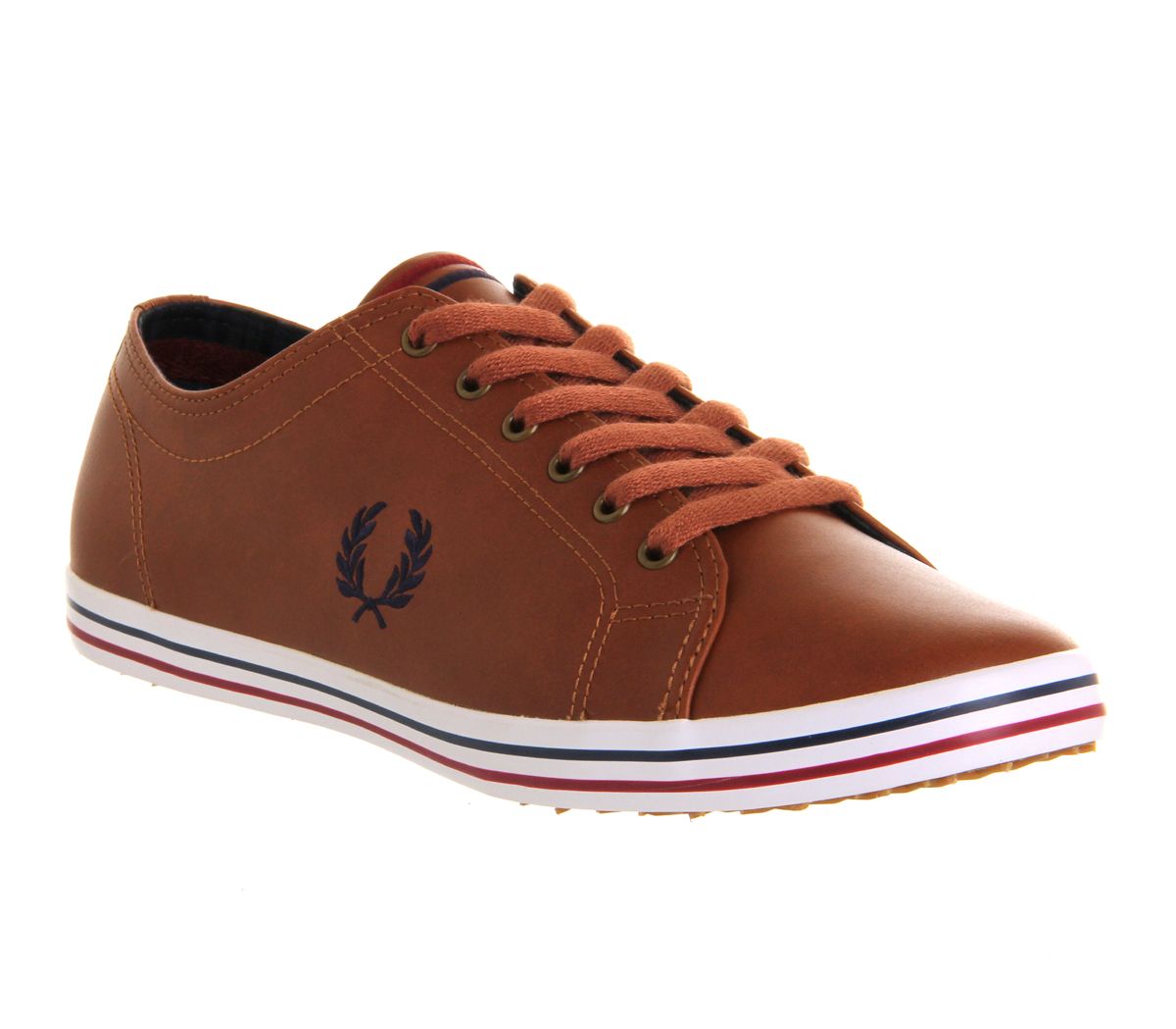 fred perry kingston leather brown trainers shoes ebay. Black Bedroom Furniture Sets. Home Design Ideas
