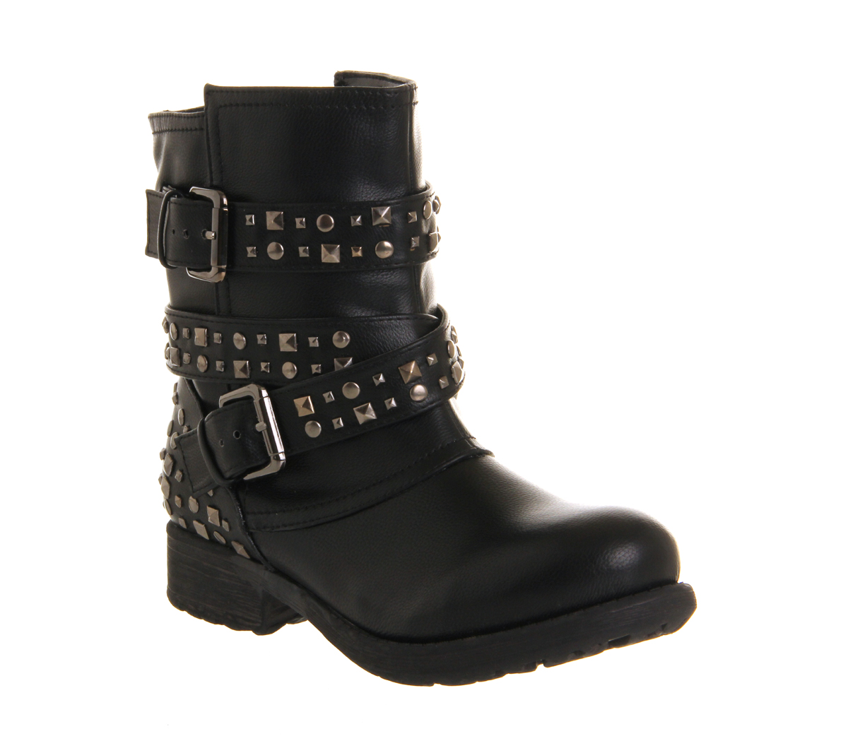 Wonderful  Boots  Daniel  Daniel Black Star Biker Womens Flat Biker Boot