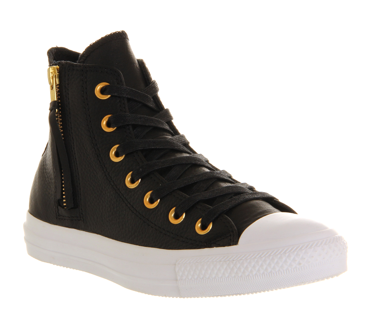 Converse-All-Star-Hi-Leather-Side-Zip-BLACK-GOLD-Trainers-Shoes
