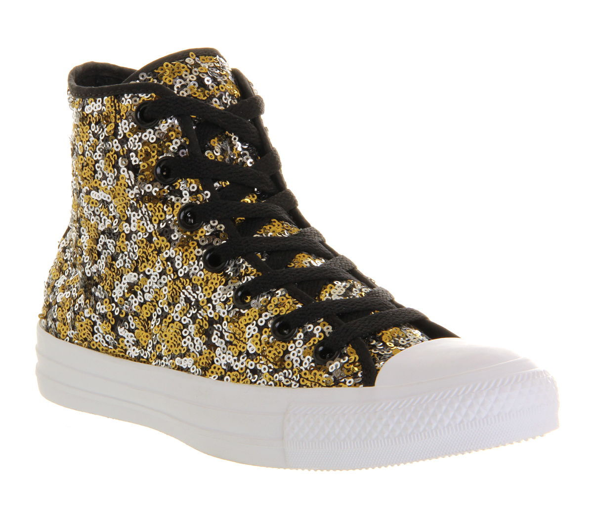 Womens Converse Converse All Star Hi BLACK GOLD SILVER ...