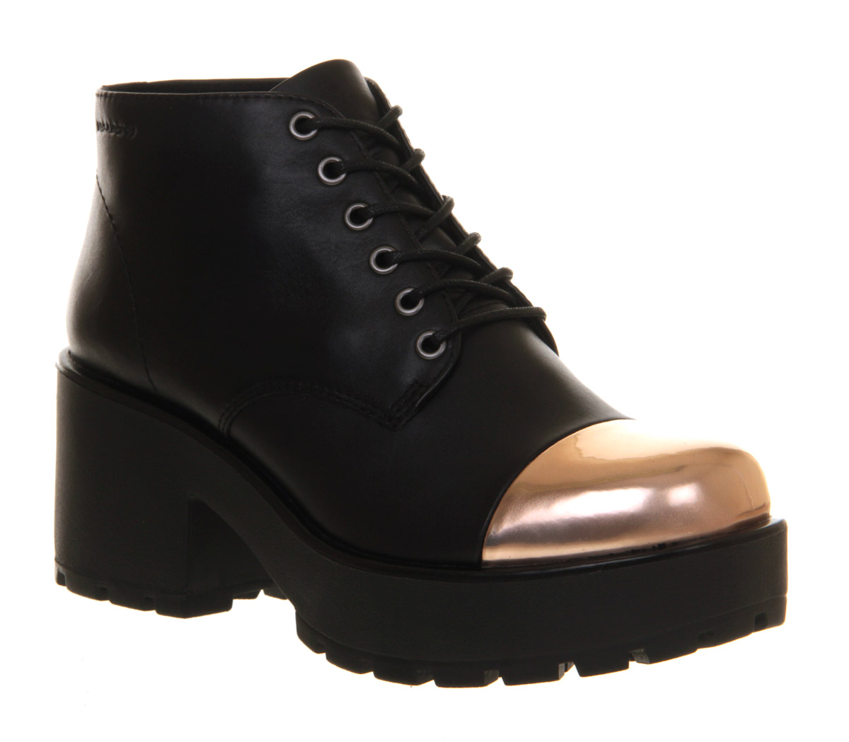womens vagabond dioon lace up boot black leather gold toe
