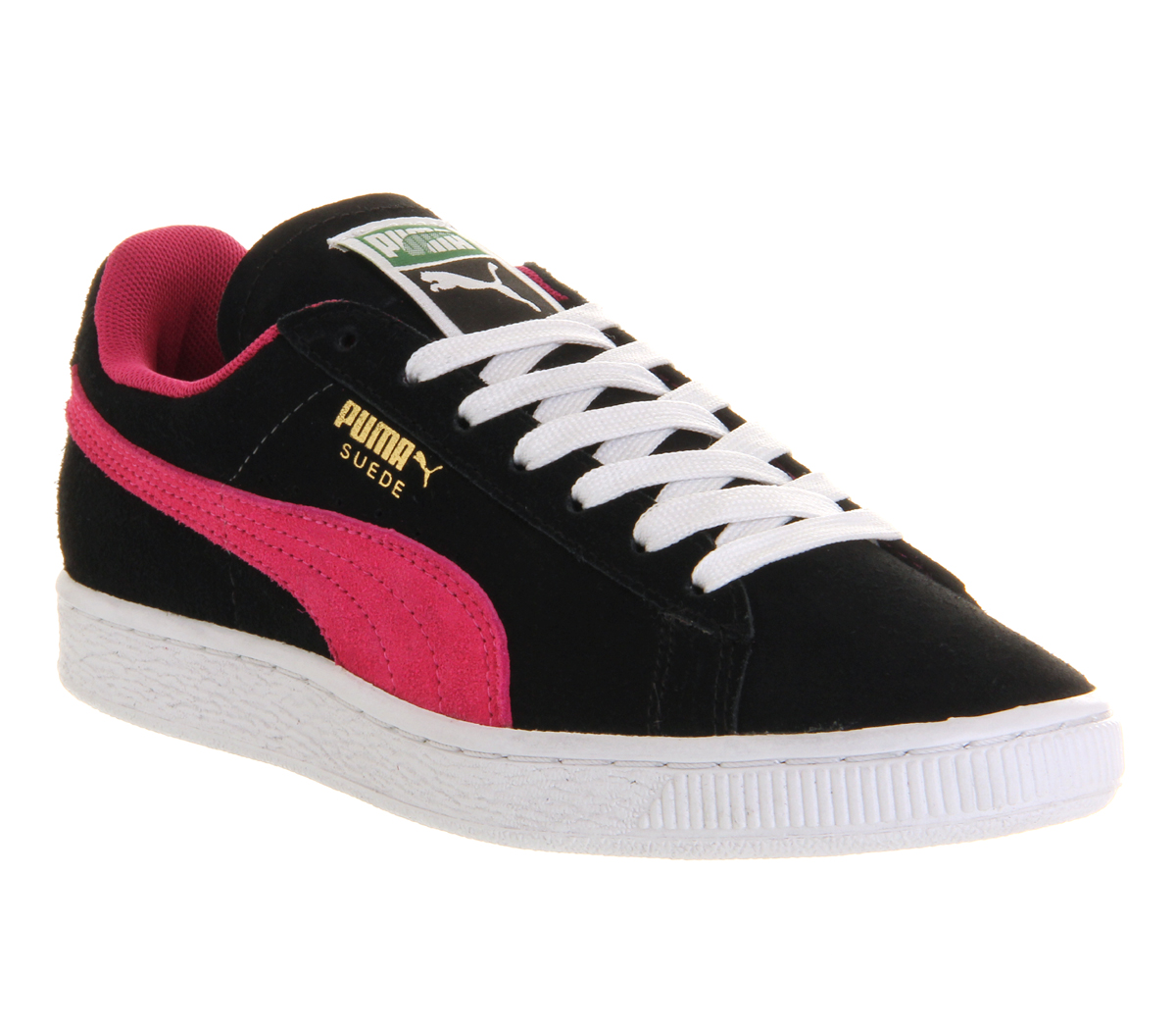 mens puma suede classic black pink w trainers shoes ebay. Black Bedroom Furniture Sets. Home Design Ideas
