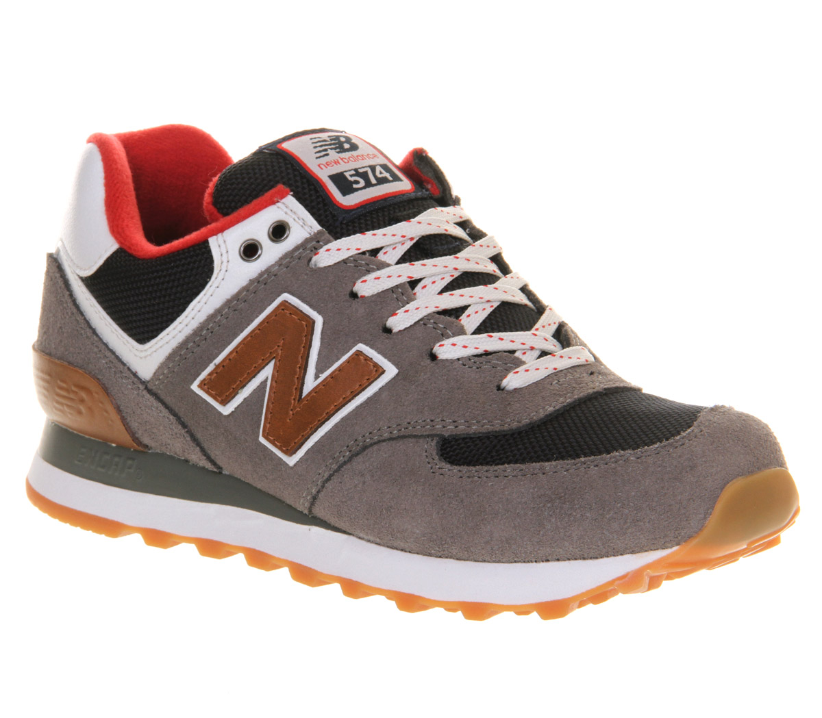 mens new balance new balance m574 grey red brown st trainers shoes. Black Bedroom Furniture Sets. Home Design Ideas