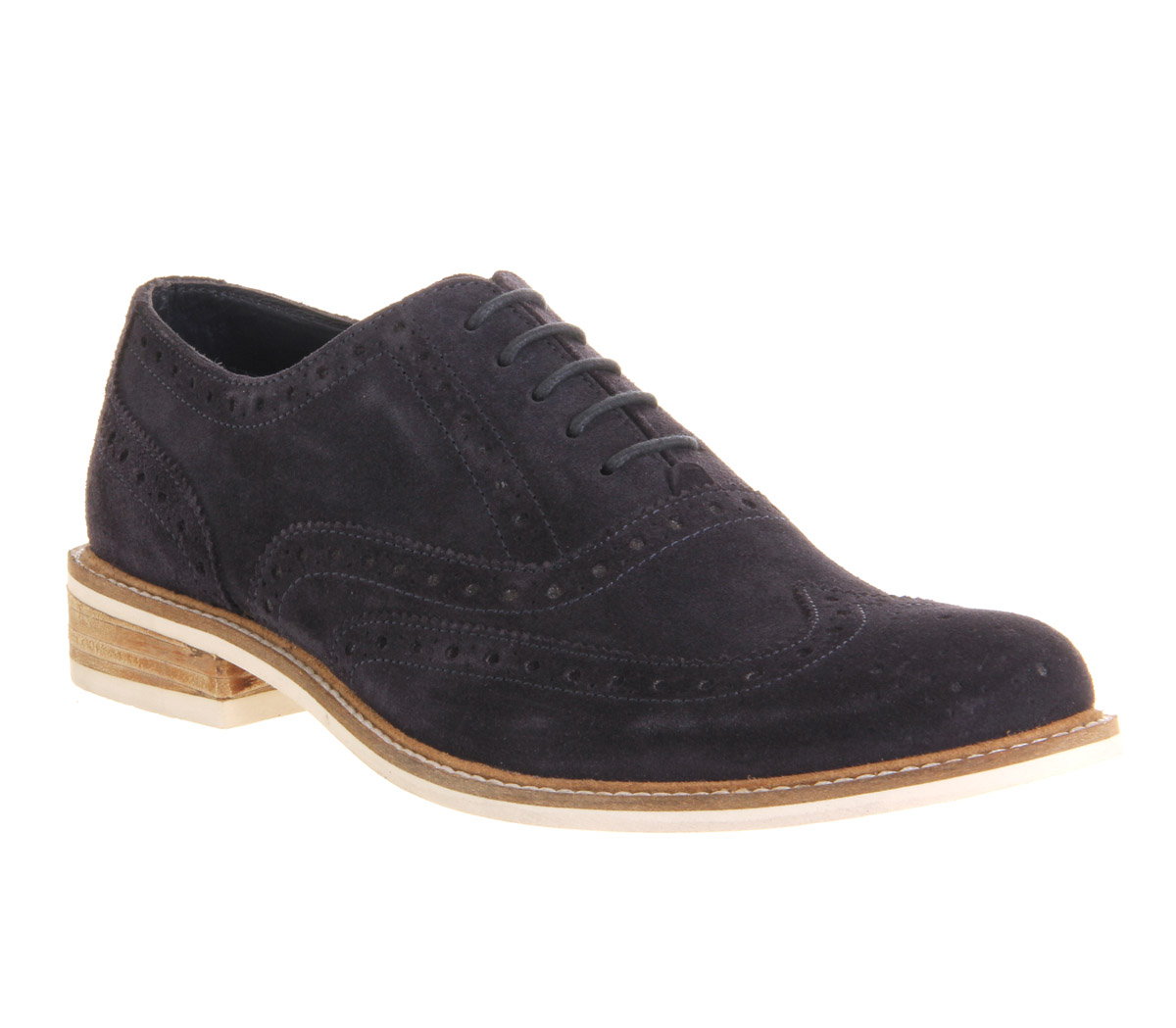 Mens Ask the Missus Wade Brogue NAVY WHITE SUEDE Formal ...