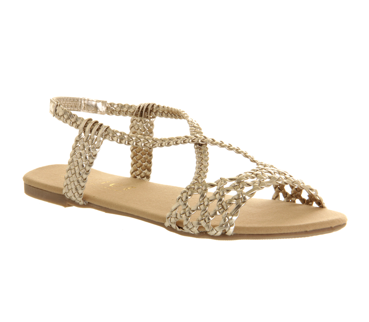 Womens Office Hades Strappy Sandal Weave Metallic GOLD ...