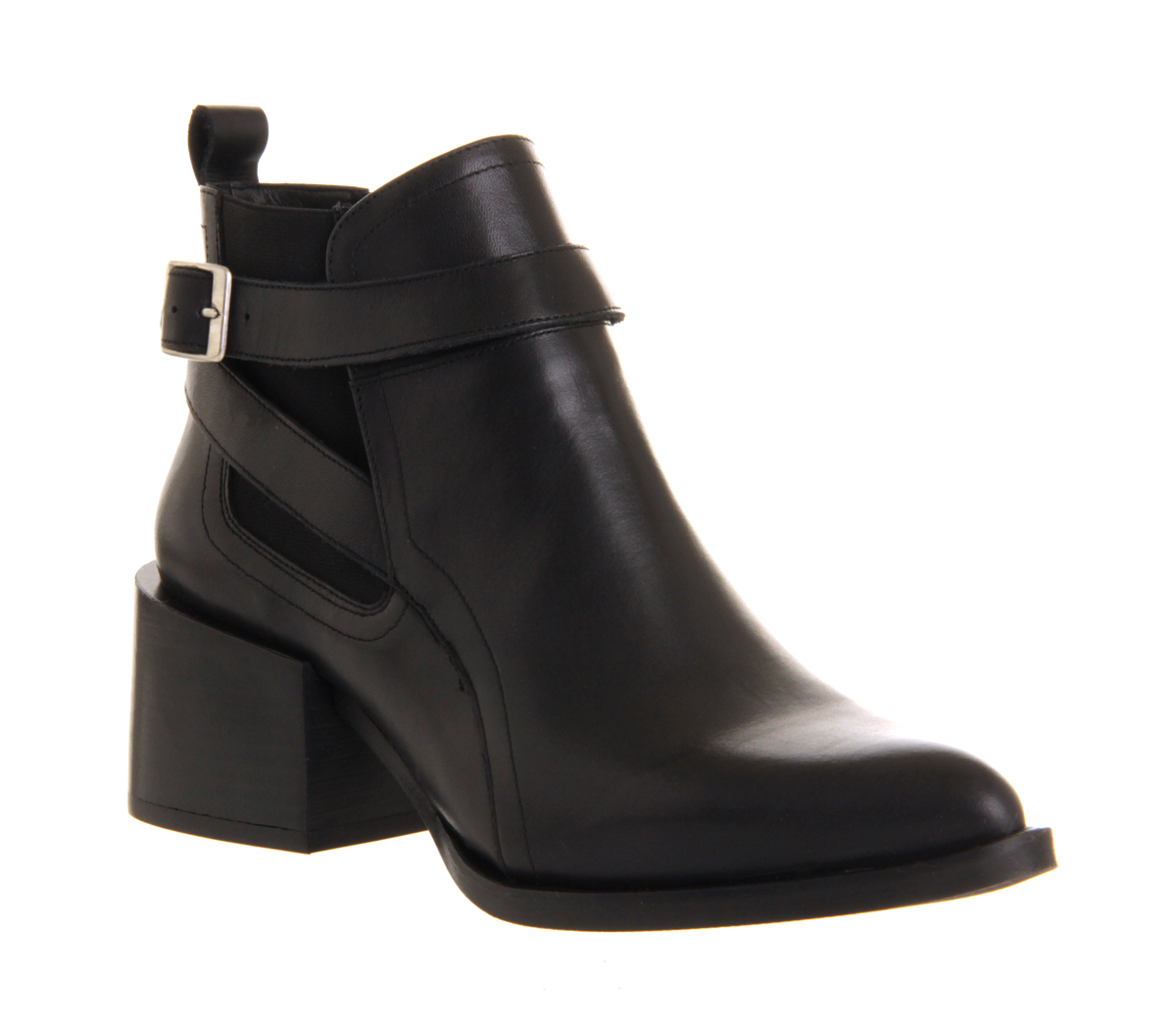 womens office cupped heel boot black leather boots