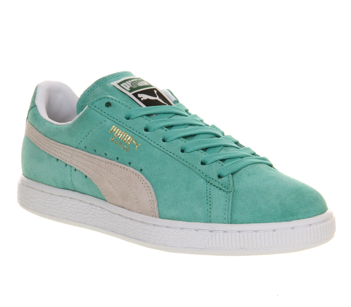 Mens-Puma-Suede-Classic-ELECTRIC-GREEN-WHITE-Trainers-Shoes