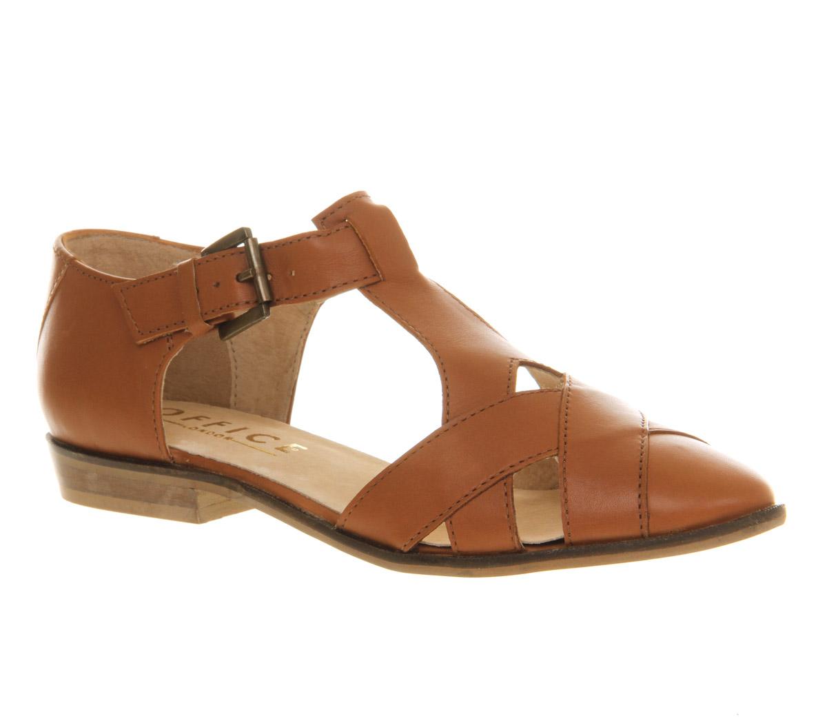Womens-Office-Kamper-Flat-Weave-Shoe-TAN-LEATHER-Flats