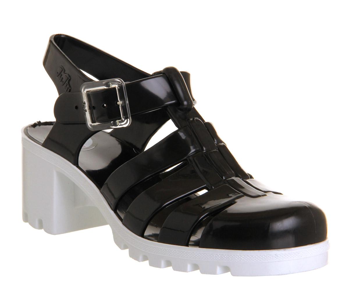 Womens JuJu Babe Hi Jelly Shoes BLACK WHITE Sandals