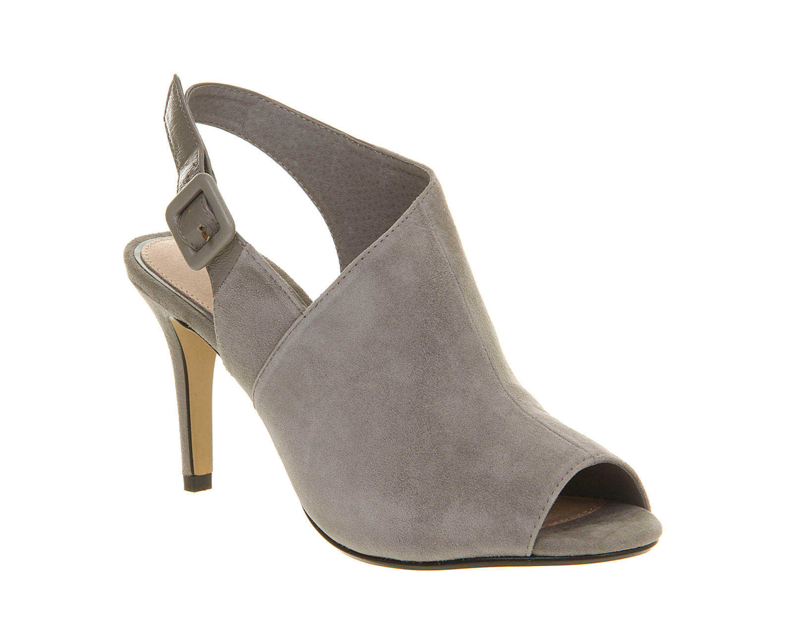 womens office gauntlet cut out shoe boot grey suede heels