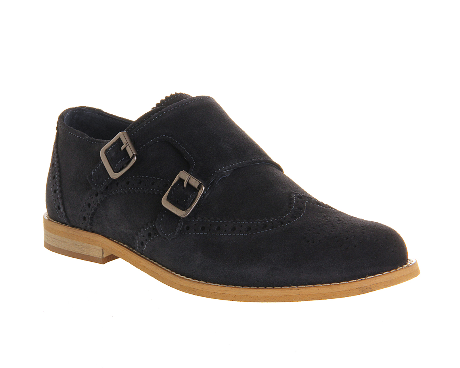 Mens Ask the Missus Access Double Monk NAVY SUEDE Formal ...