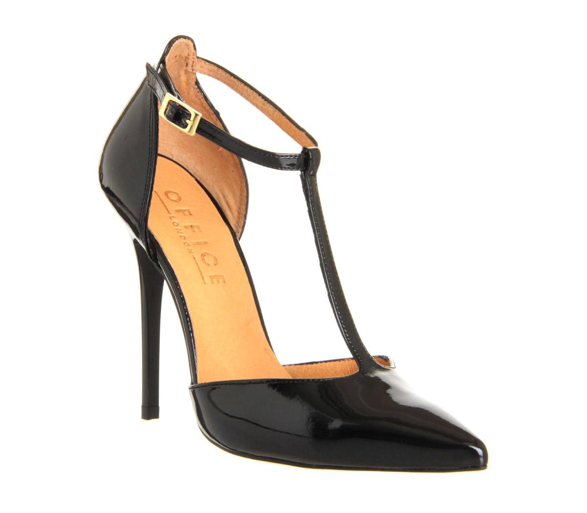 Womens Office Selina T Bar Point Black Patent Heels Ebay