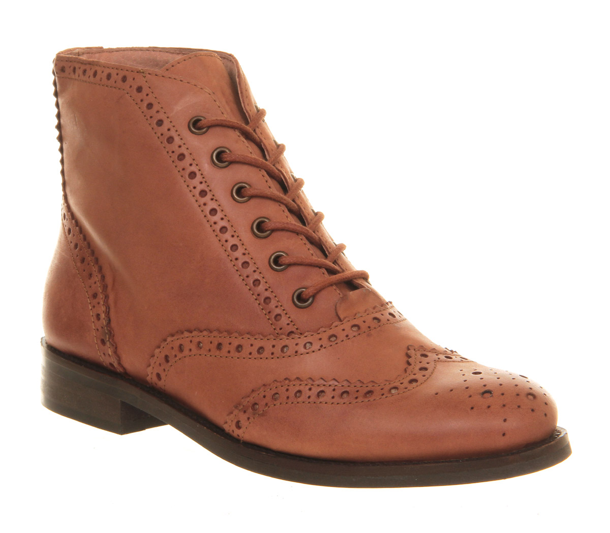 womens office crton brogue lace up brown leather boots