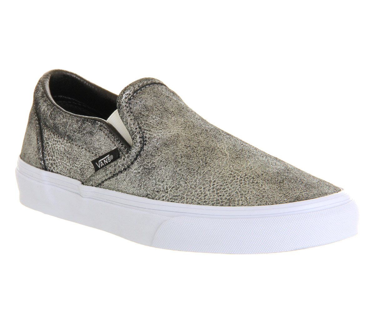 mens vans vans classic slip on metallic silver trainers