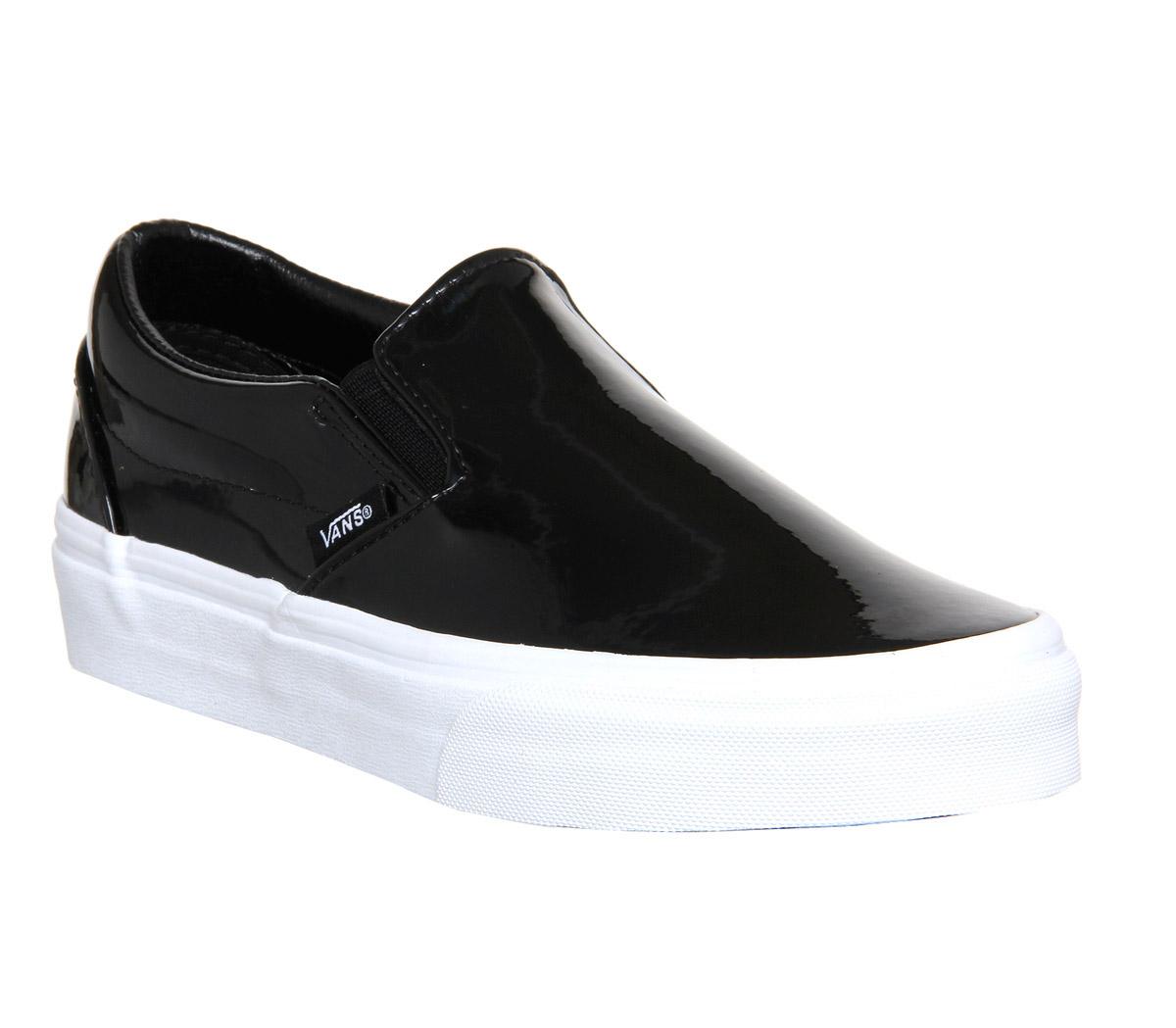 mens vans vans classic slip on patent leather black trainers shoes. Black Bedroom Furniture Sets. Home Design Ideas
