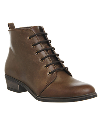 0846a12ae8 Womens Office Loren Lace Up Boots BROWN LEATHER Boots *Ex Display ...