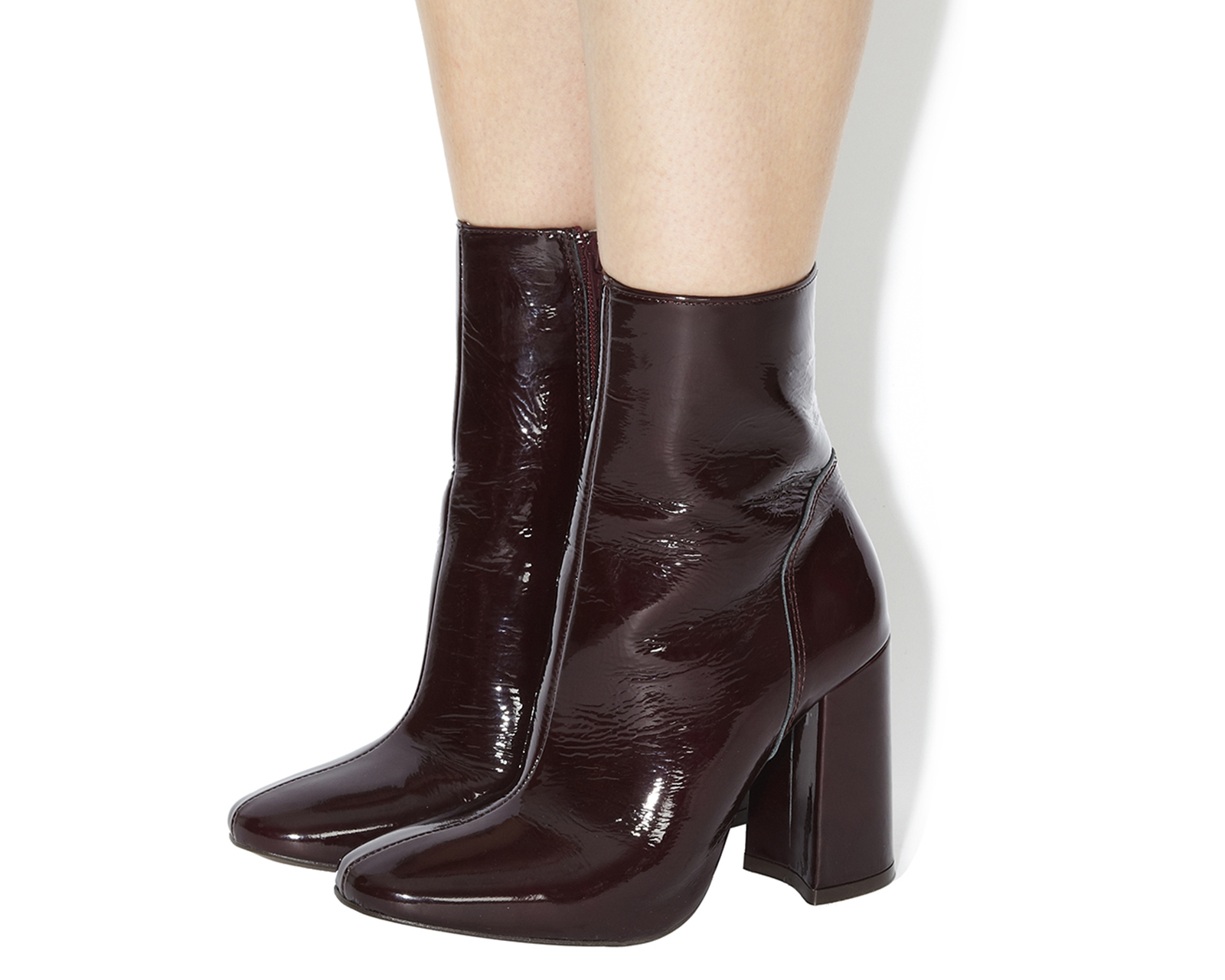 womens office incense high cut boots burgundy patent