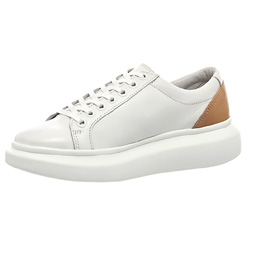 Office Daze Lace Up Flatform Trainers Womens Flats White Nude Leather 2422312160