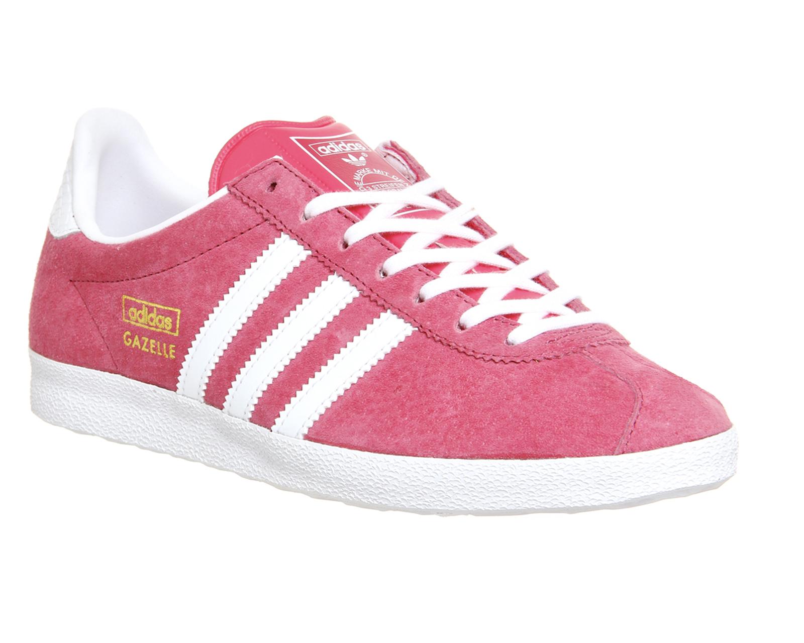 adidas gazelle og lush pink white metallic gold trainers