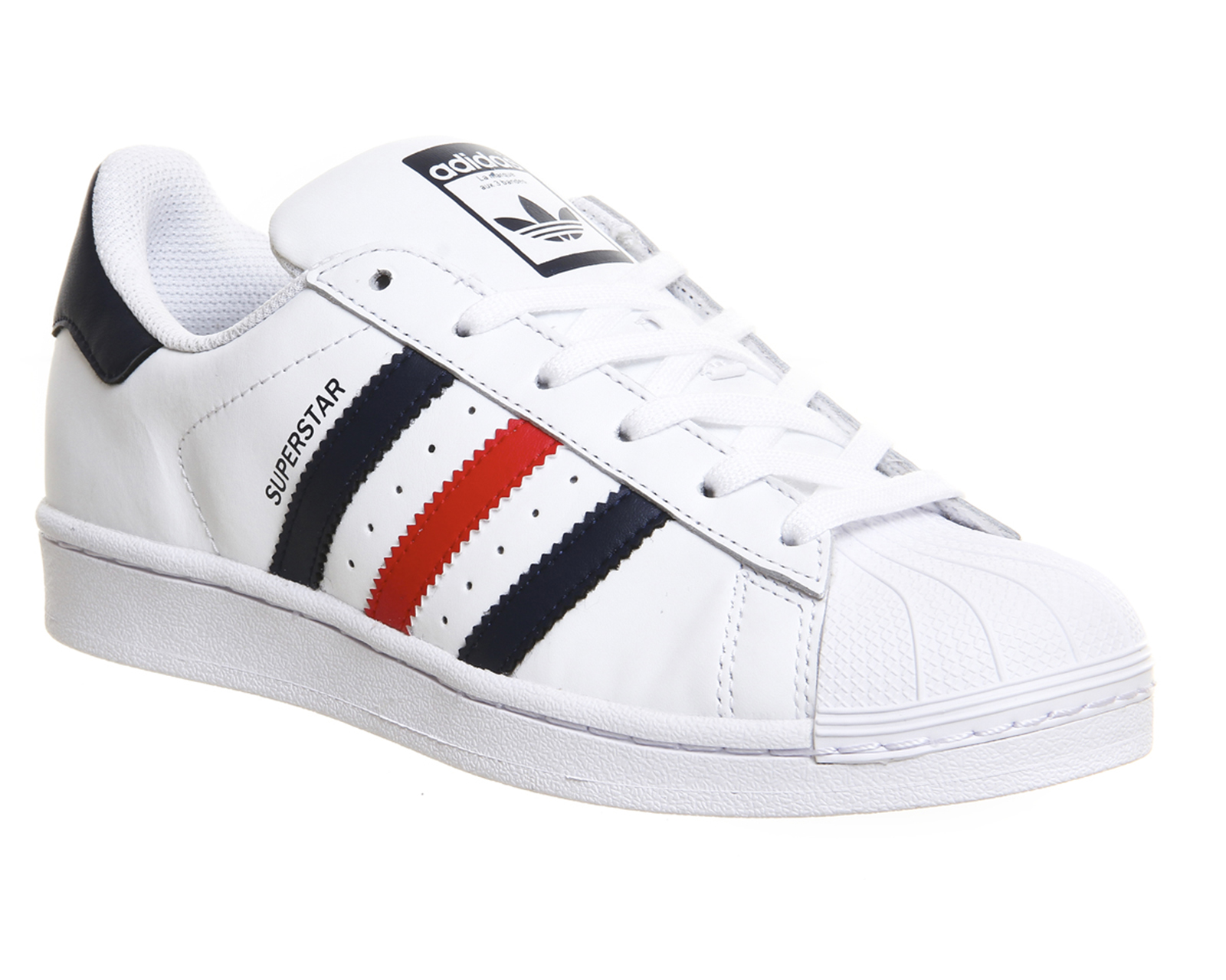 mens adidas superstar 1 white collegiate navy red trainers. Black Bedroom Furniture Sets. Home Design Ideas