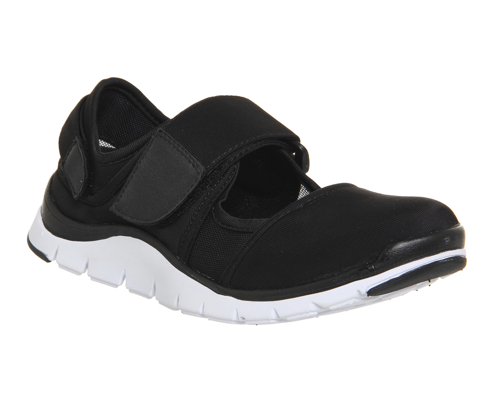 Womens Office Dizzy Velcro Strap Trainers Black Textile