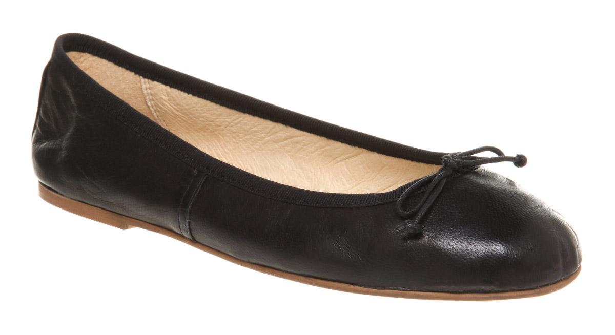 womens office academic ballerina black leather flats ebay