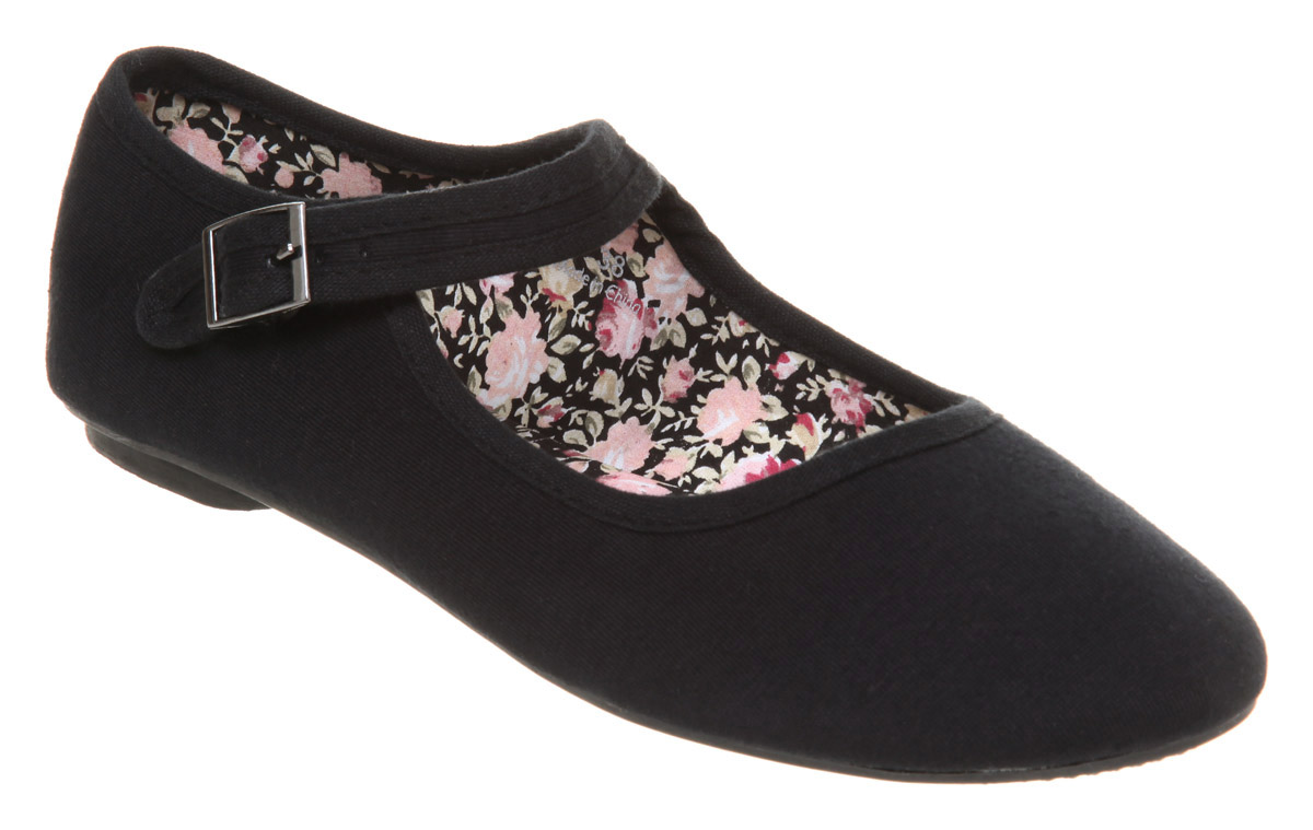 Womens-Office-True-Mary-jane-Pump-Black-Jersey-Flats