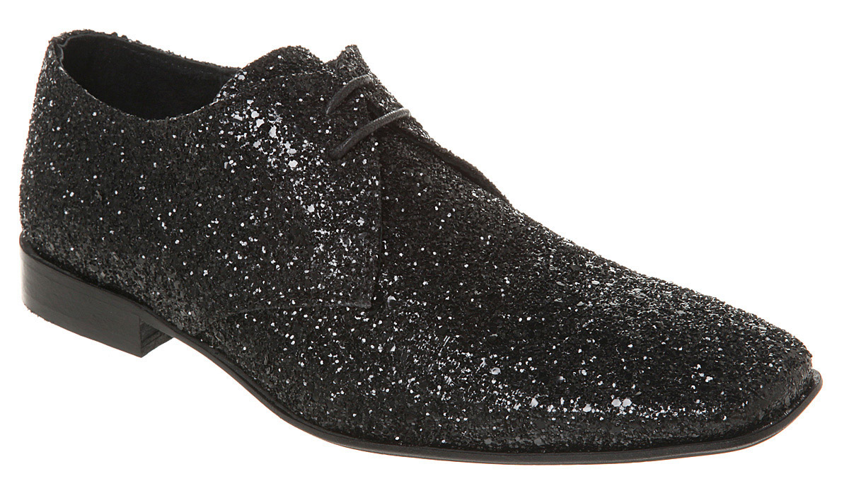 Mens-Ask-The-Missus-Arrivista-Lace-Black-Glitter-Shoes