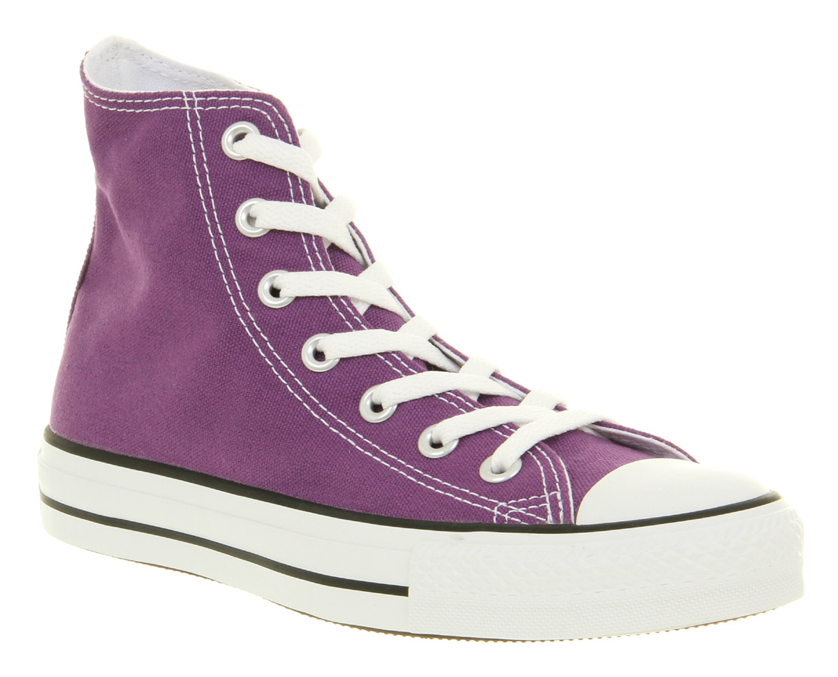 converse all star hi laker purple canvas trainers shoes ebay