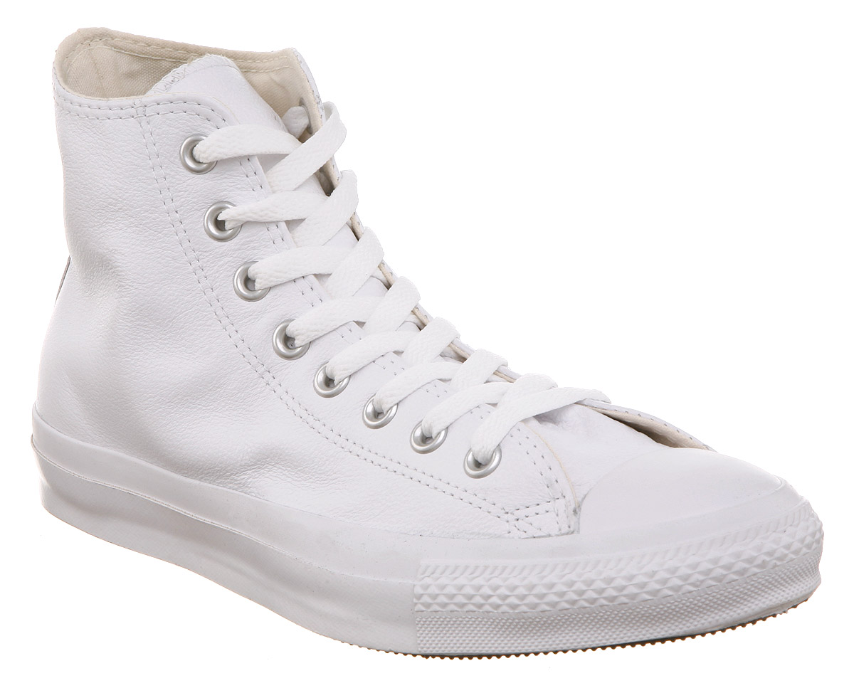 Converse-All-Star-Leather-Hi-White-Mono-Trainers-Shoes-Unisex-Sports