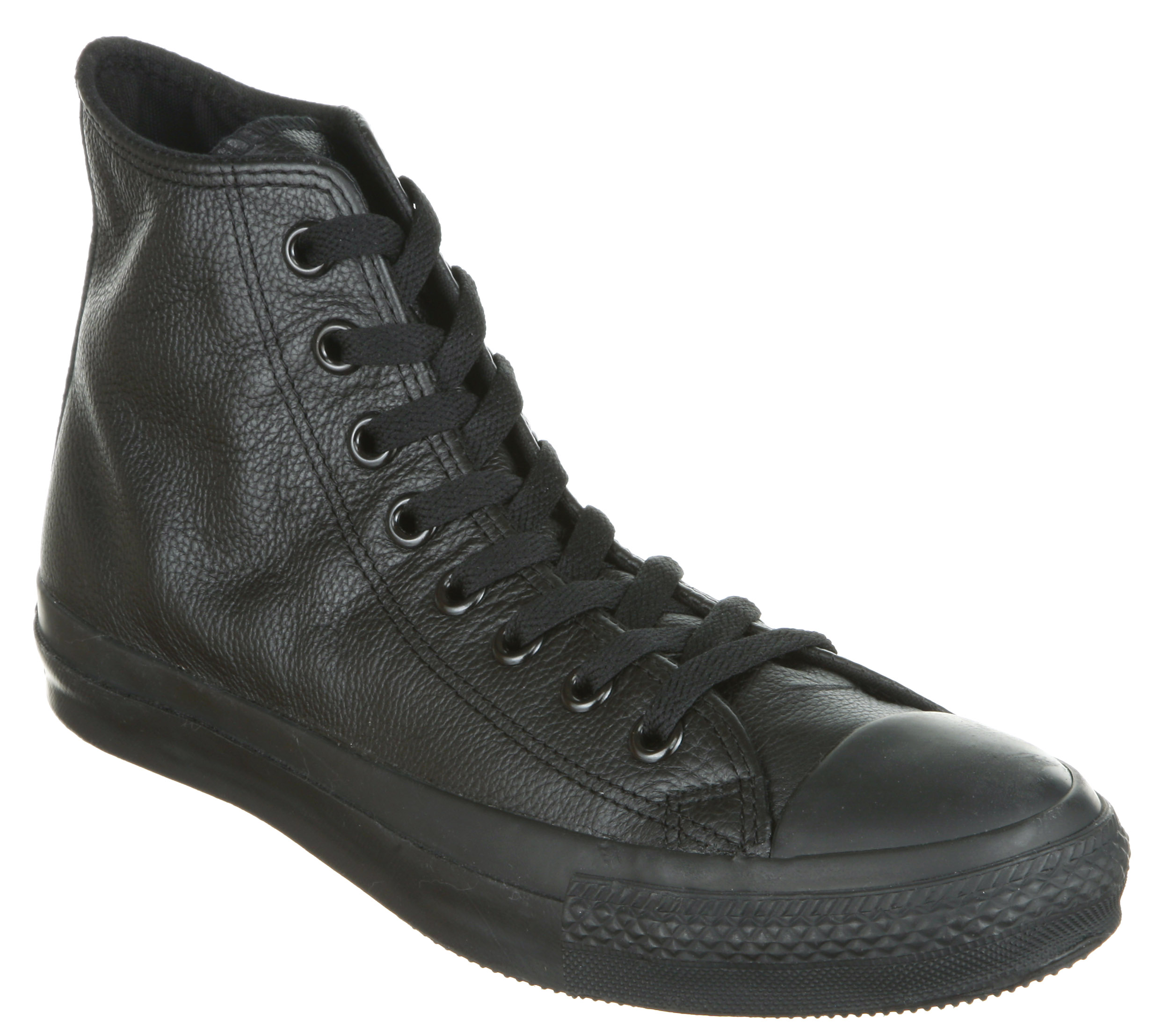 Converse-All-Star-Leather-Hi-Black-Mono-Trainers-Shoes-Unisex-Sports