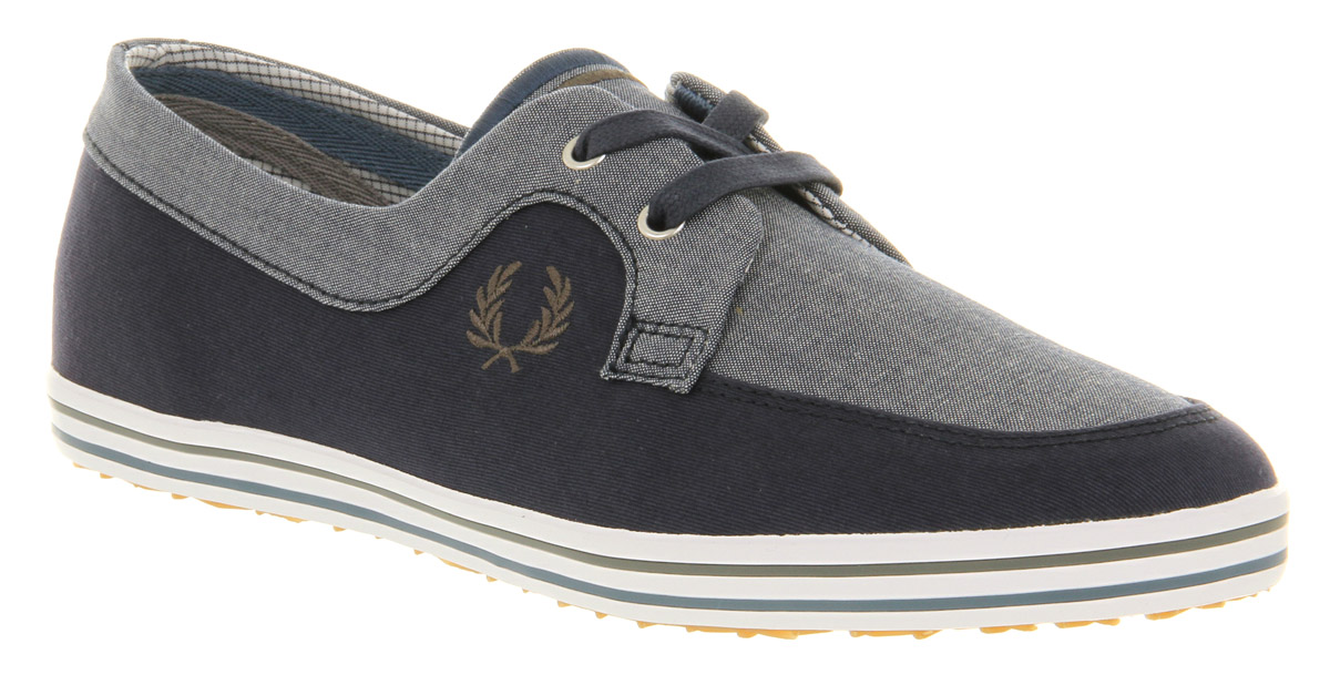 Mens-Fred-Perry-Drury-Twill-Carbon-Blu-grey-Trainers-Shoes