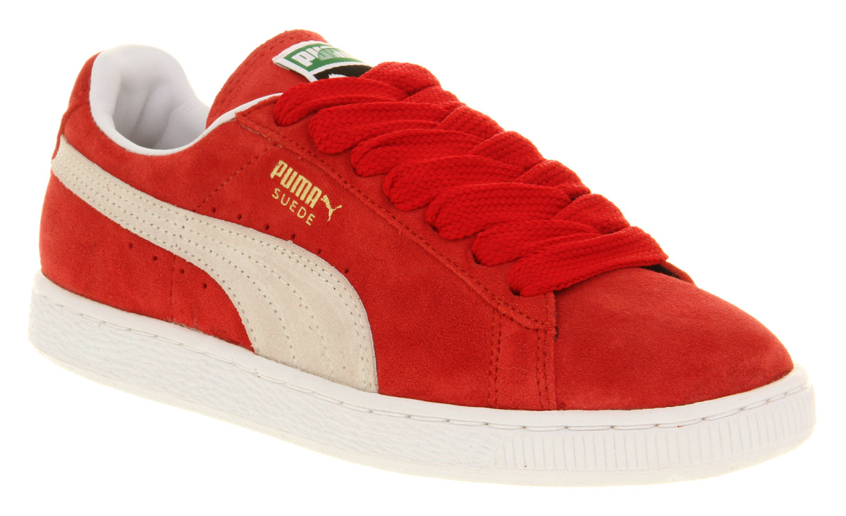 7b833f9fcdf Puma Suede Classic Red white Trainers Shoes