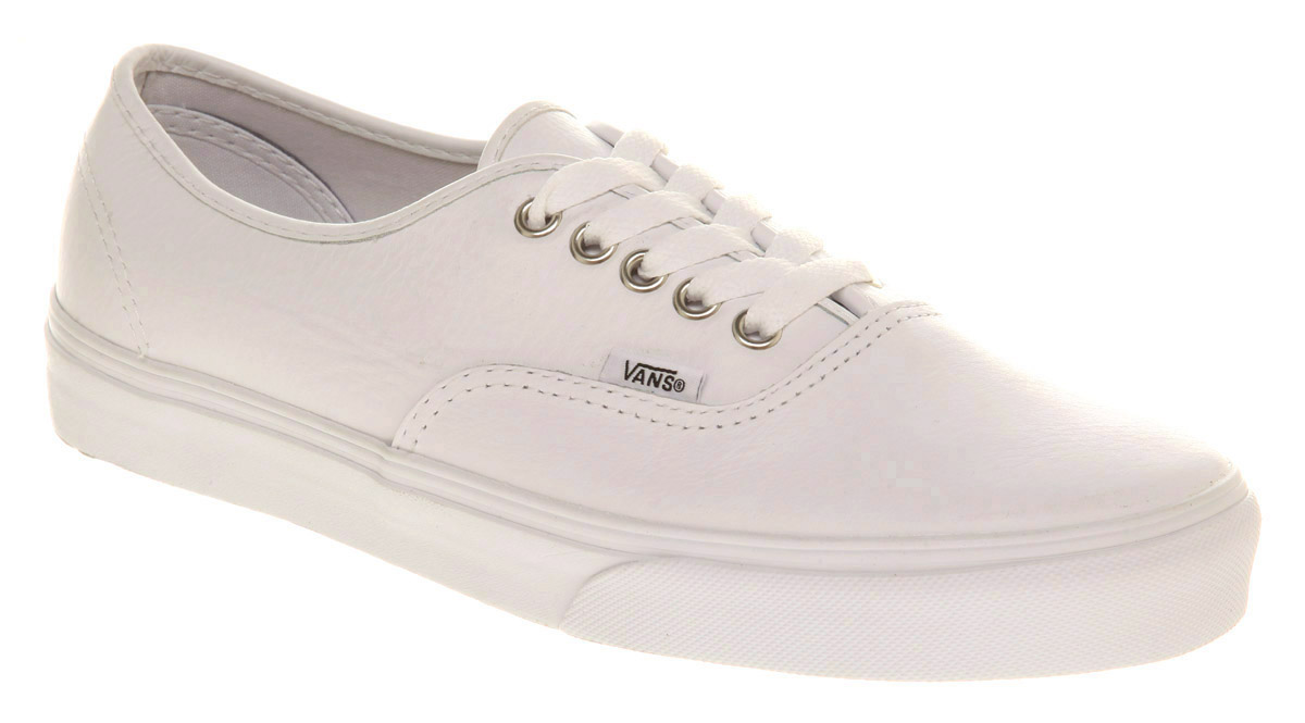 mens vans authentic leather white mono trainers shoes ebay
