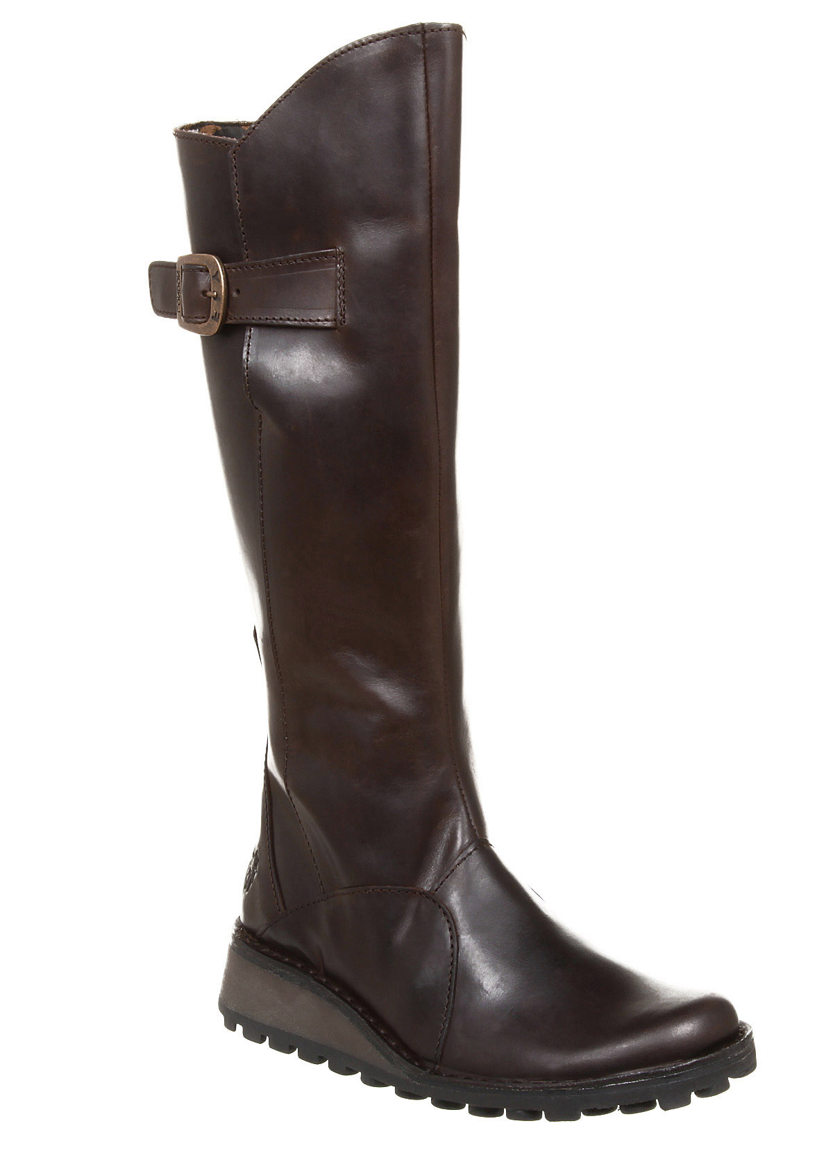 womens fly mol low wedge buckle boot brown