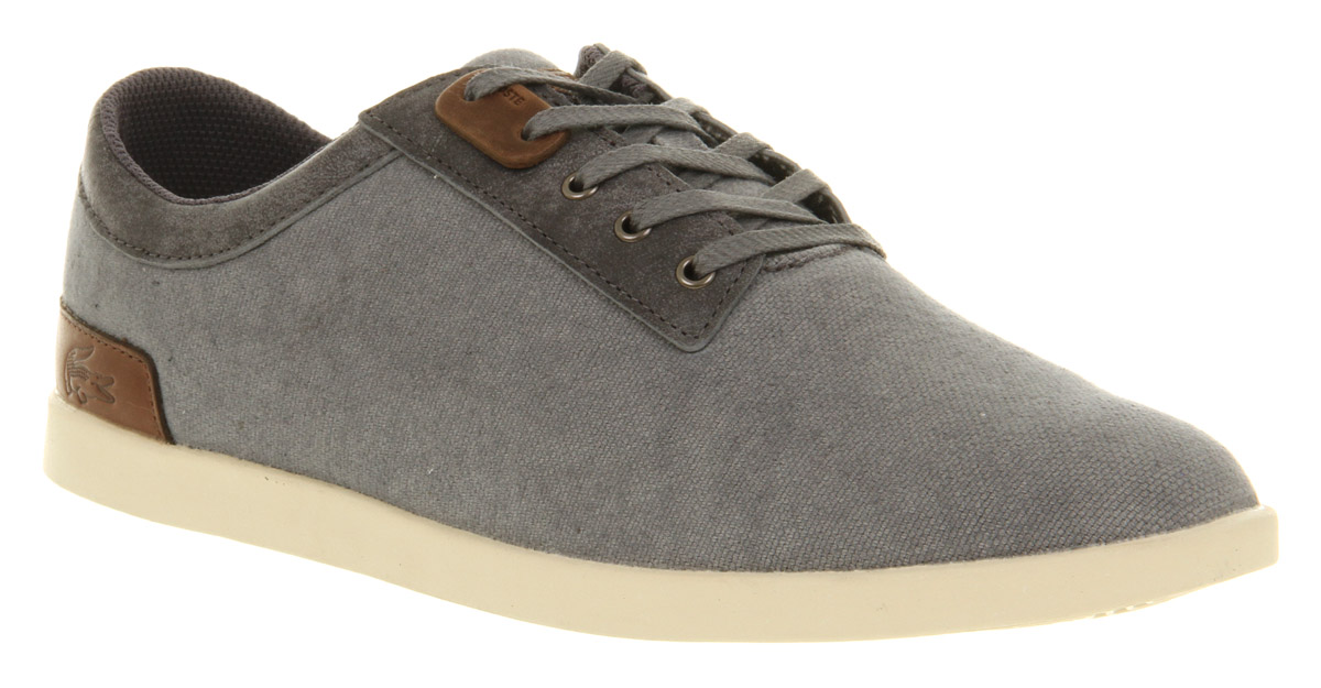 mens lacoste gilford canvas lace up grey canvas trainers