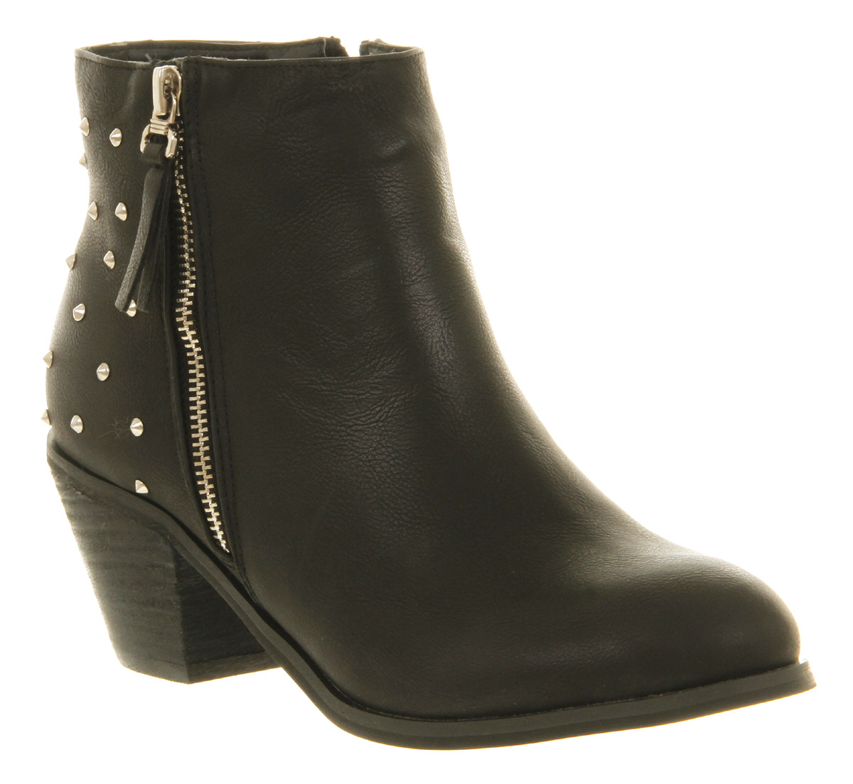womens office neptune stud boot black pu studs