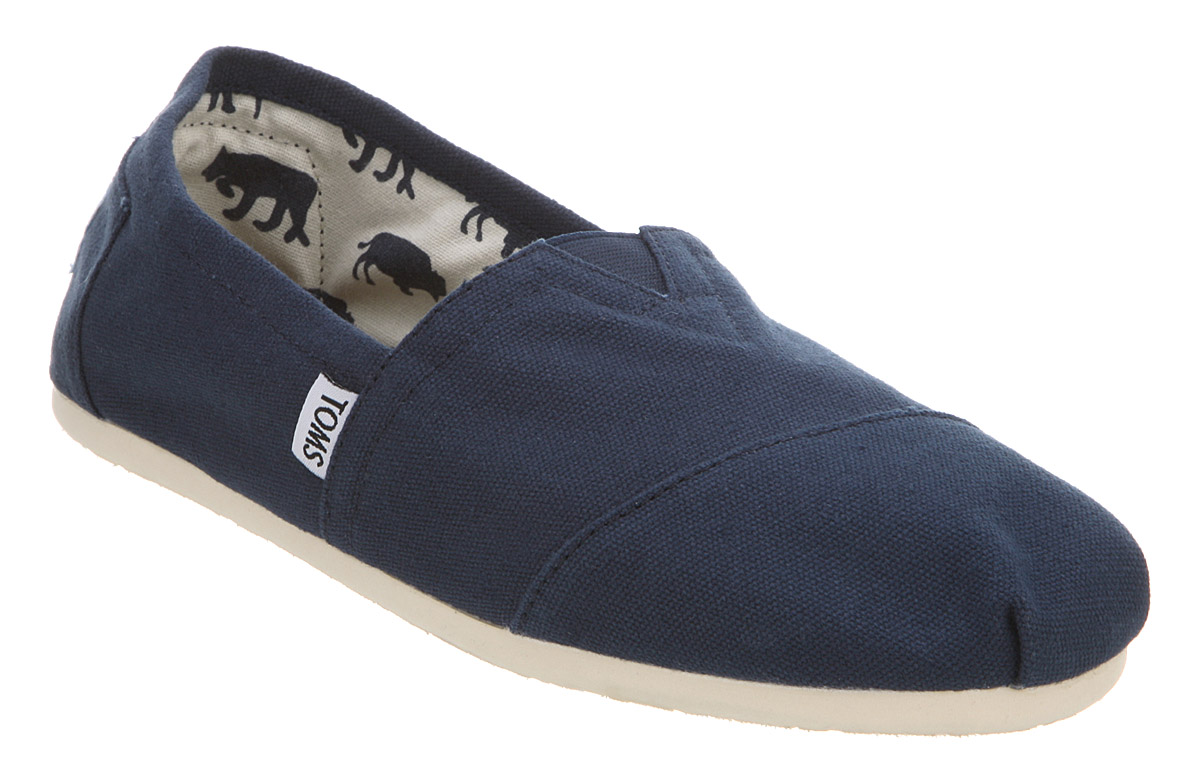mens toms toms canvas navy blue canvas casual shoes ebay