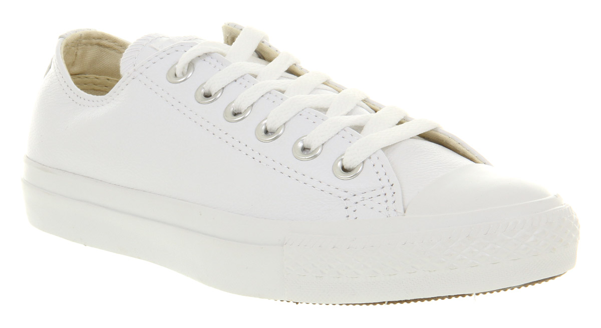 Converse-All-Star-Leather-Ox-Low-White-Mono-Trainers-Shoes